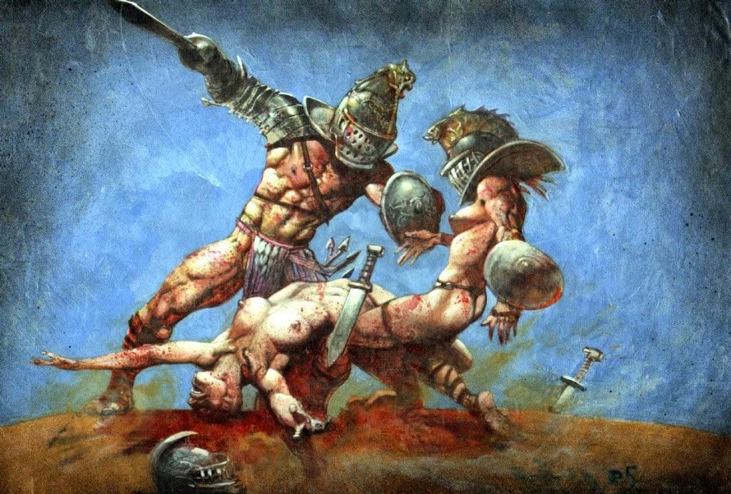Dessin de Simon Bisley représentant un gladiateur defaisant deux gladiatrices sexy et topless