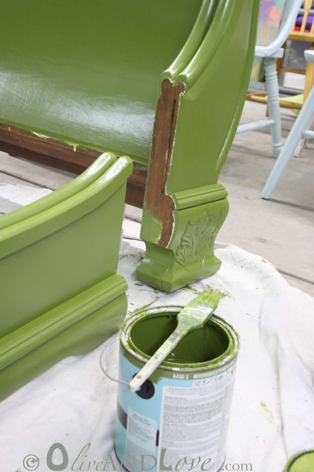 Olive And Love » How To Paint A Wooden Bed Frame….Note: Sob Story. Full resolution  portrait, nominally Width 1067 Height 1600 pixels, portrait with #4C5C26.