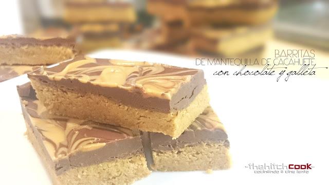 Barritas de mantequilla de cacauete con chocolate y galleta para recetas con chocolate las más originales Las Recetas Fáciles de María