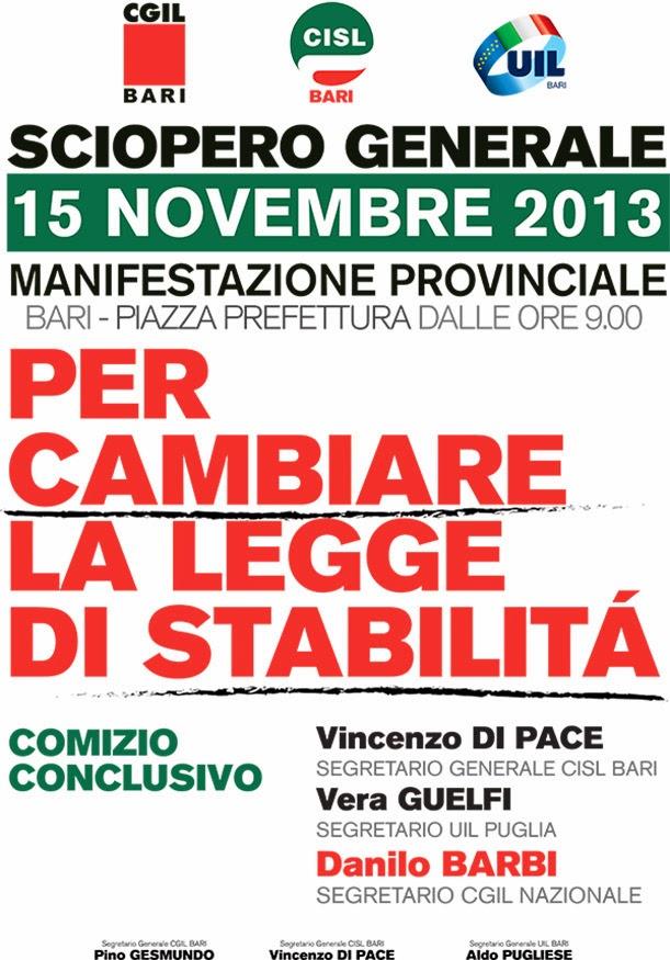 Sciopero generale il 15 novembre in Puglia