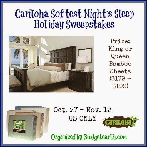 Enter the Cariloha Softest Night's Sleep Holiday Giveaway. Ends 11/12