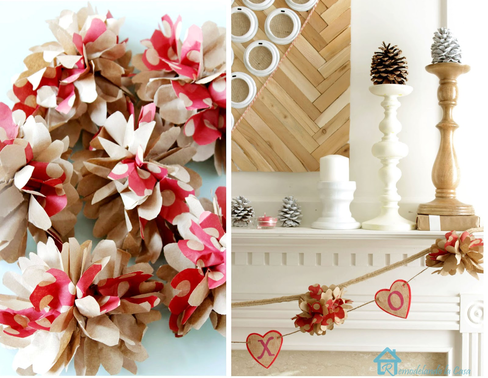 make paper flowers to create a garland for Valentines