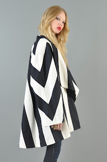 Vintage 1980's black and white mod striped swing cape coat.
