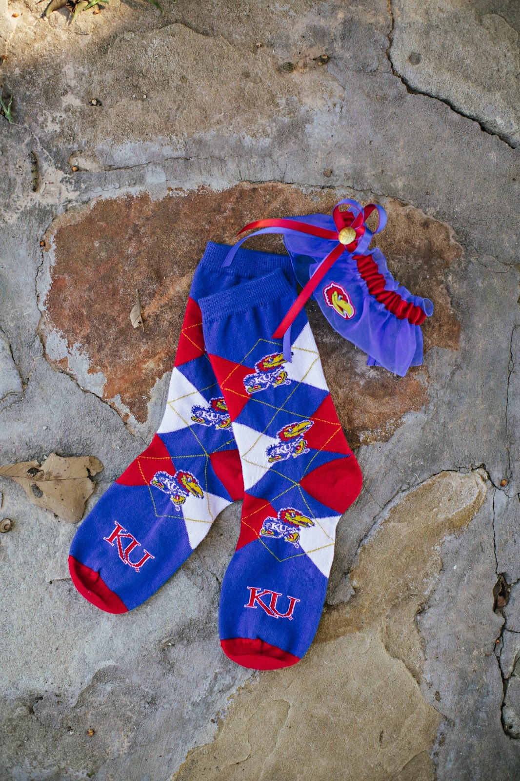 Jayhawk socks, Jayhawk garter, wedding tradition