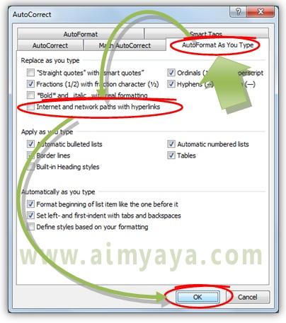 Gambar: Cara mematikan hyperlink otomatis di Microsoft Word