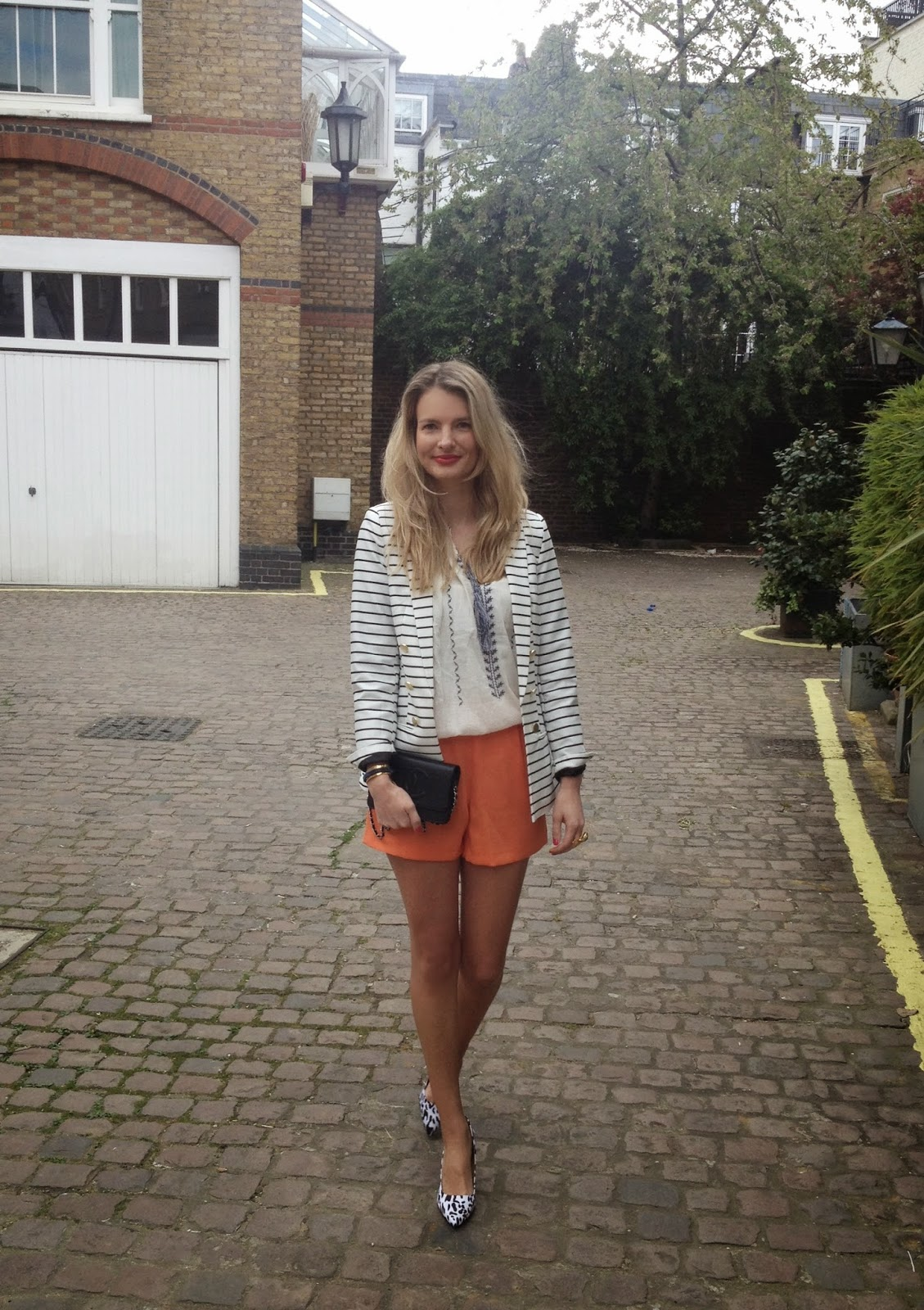 mango, mango fashion blogger, mango shirt, striped blazer, stripes, orange shorts, shorts, shorts and blazer, street style, fashion blogger, london fashion blogger, asos, asos shorts, print mix, leopard print heels, asos heels, asos shoes, chanel bab, woc, wallet on chain, chrissabella, embroidered smock top, smock top, mango top