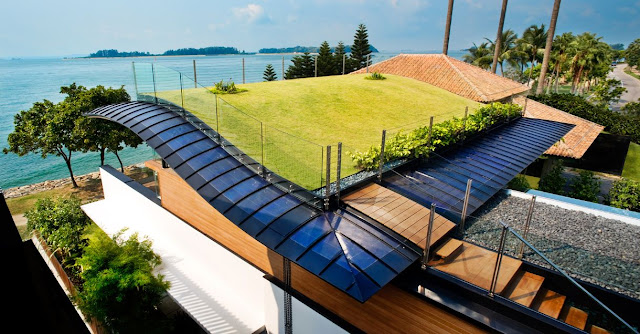 green grass roof and solar panels