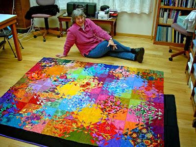 Robin Atkins, Shimmer quilt, auditioning border fabrics