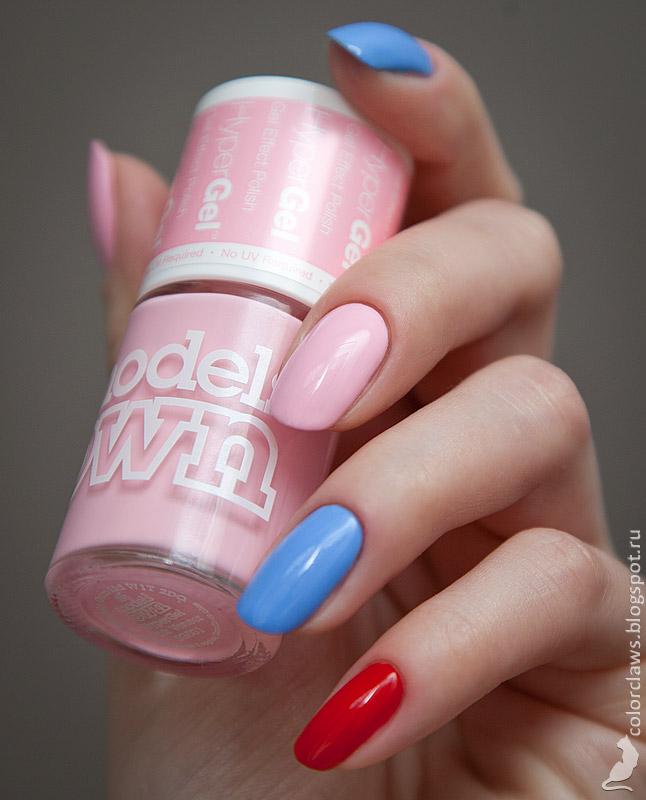 Models Own Hyper Gel Pink Veneer + Cornflower Gleam + Red Lustre