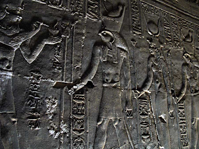 carved walls of Edfu temple in Egypt