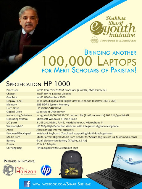 Shahbaz Sharif Laptops Specifications 2013