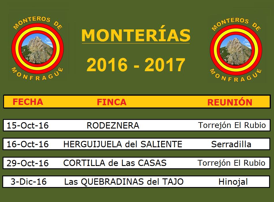 Calendario Monterías 2016-2017