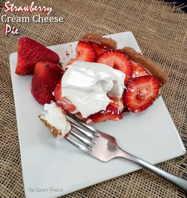 a slice of Fresh Strawberry Cream Cheese Pie