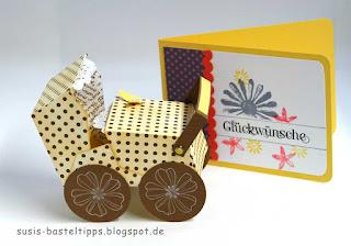 Kinderwagen und Glückwunschkarte zur Geburt aus Stampin Up Stanze Umschläge für Big Shot