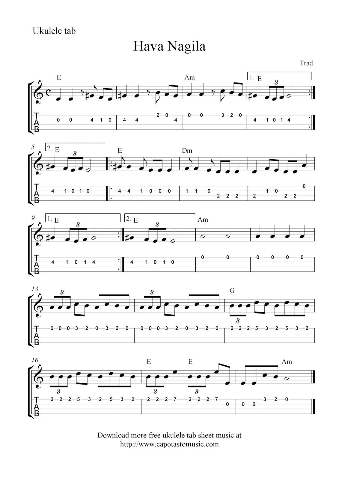 Free ukulele tab sheet music, Hava Nagila