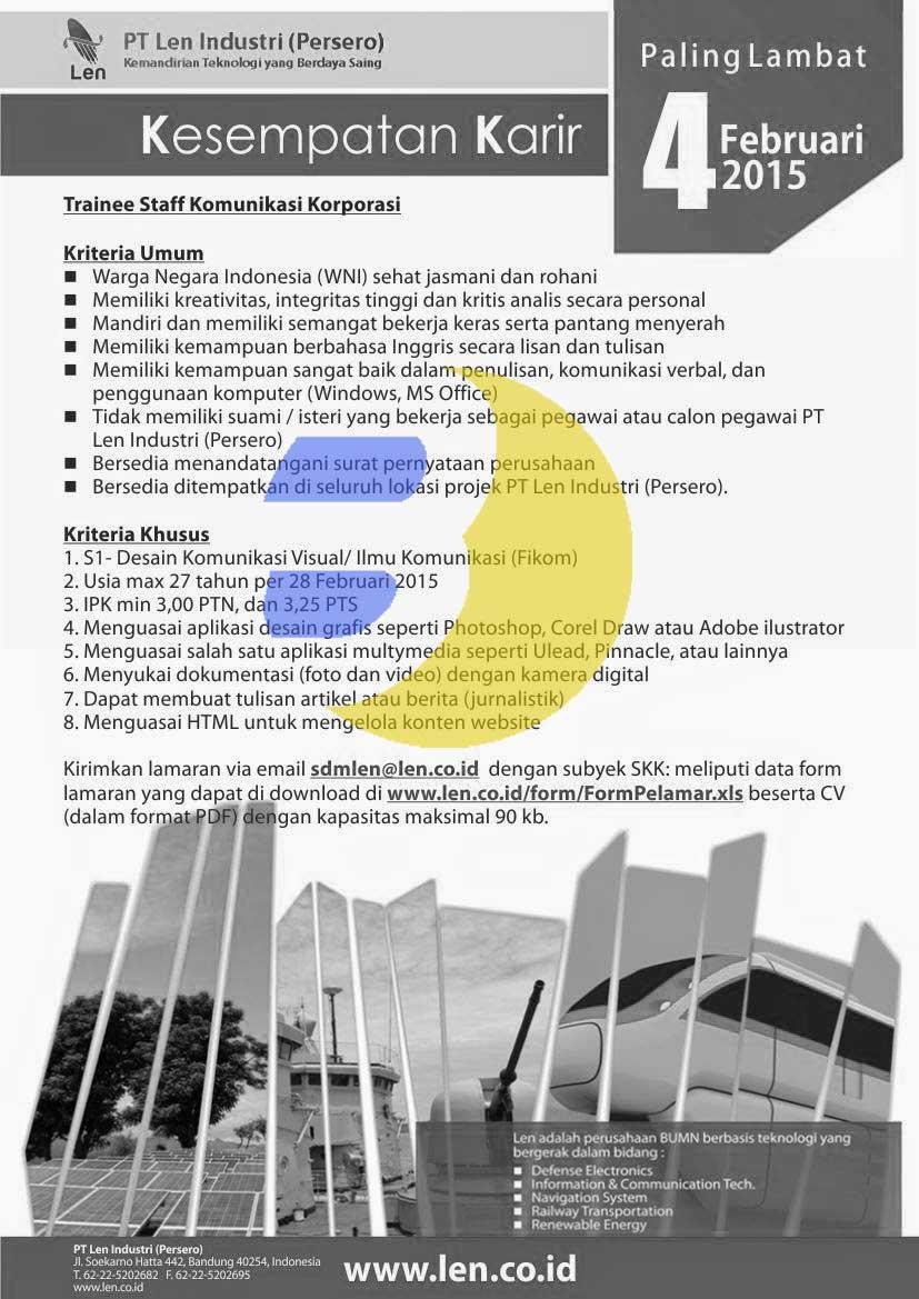 Recruitment PT. LEN Industri (Persero) 2015, Lowongan Kerja  PT. LEN Industri (Persero) 2015