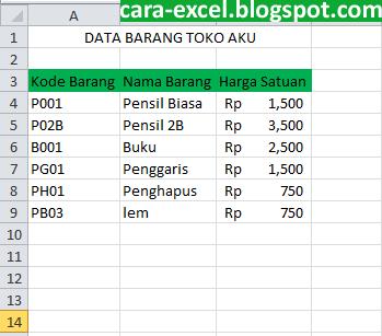 Cara Membuat Nota Pada Excel