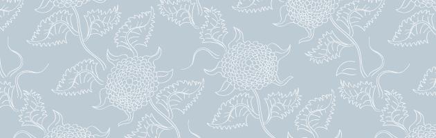 青と白のシンプルな花柄パターン | 商用利用も可なフリーの花柄パターン素材