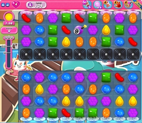 To crush candies, the player must match three candies of the same