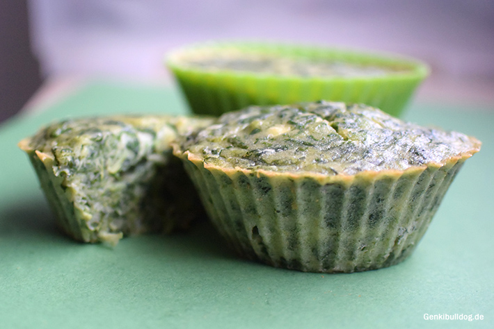 Frischkäse-Spinat Muffin Rezept für Hunde