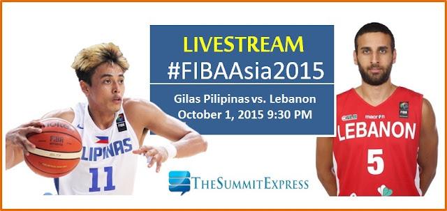 LIVESTREAM: Gilas Pilipinas vs. Lebanon FIBA Asia 2015 Quarterfinals