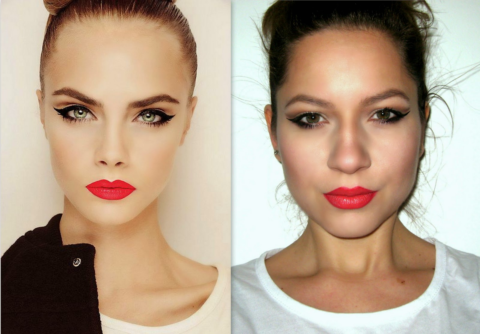 beauty, beauty and make up, classics red lip pencil, avon lipstick, orange lipstick, red lipstick, black winged eyeliner, celebrity inspired make up look, cara delevingne
