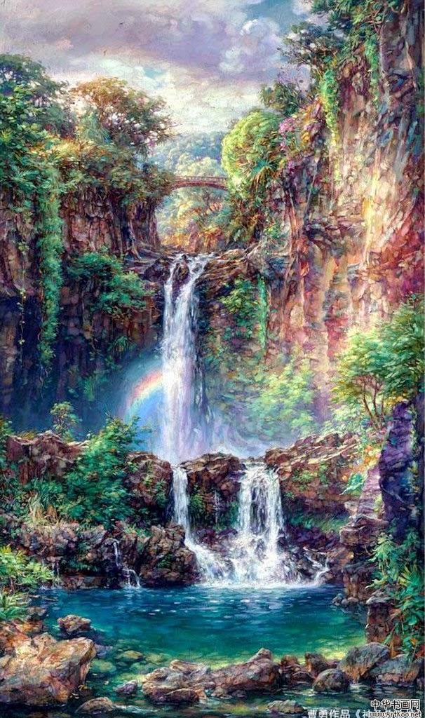paisaje-natural-con-catarata-pintura-al-oleo