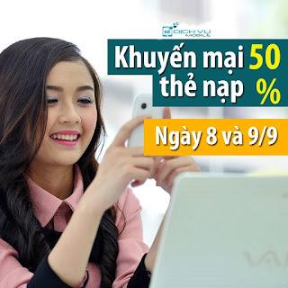 Viettel khuyến mãi 50% giá trị thẻ nạp trong ngày 8, 9/9/2015