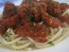 Moroccan-Style Tomato Sauce with Meatballs (Kafta) and Spaghetti / Spaghetti aux Boulettes de Viand