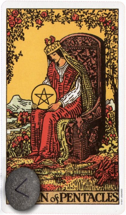 Original Rider Waite Tarot Queen of Pentacles, Runes, Ken Kenaz