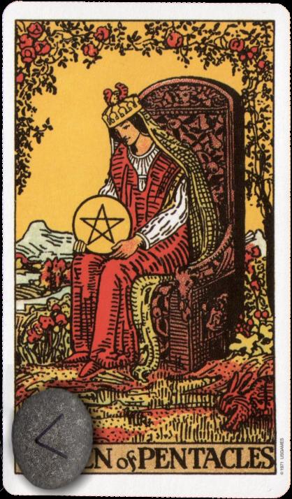 Original Rider Waite Tarot Queen of Pentacles, Runes, Ken Kenaz