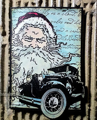 Visible Image Christmas stamps vintage santa car