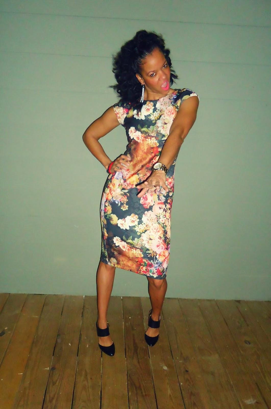 Floral Dress; Vince Camuto Heels