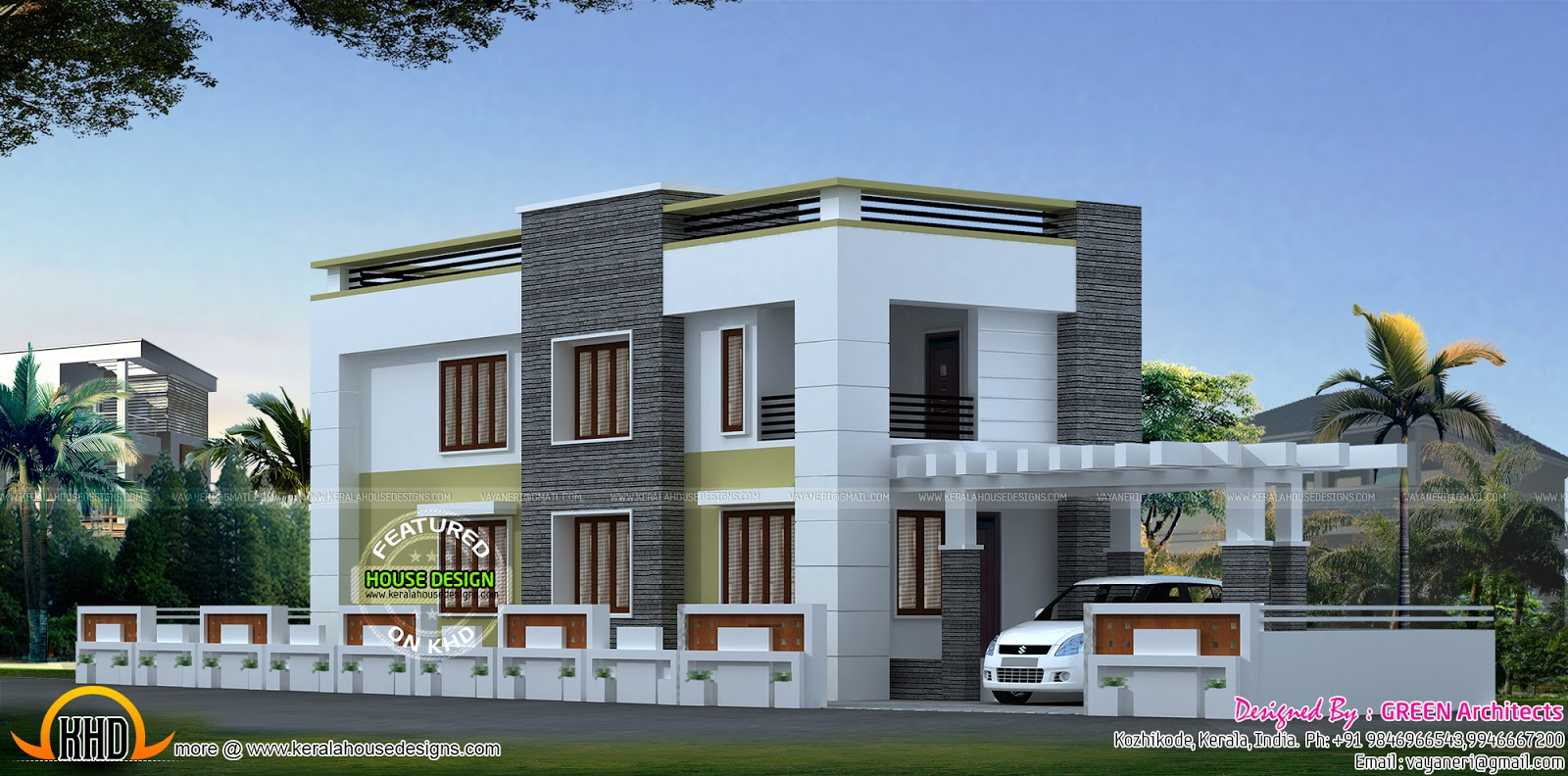 Flat roof style house plan kerala home design and floor for Kerala home design flat roof elevation
