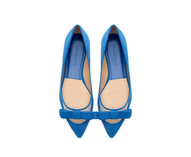 blue pointed flats