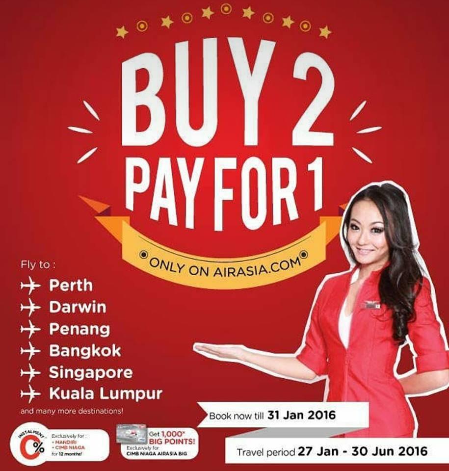 Promo Airasia Bayar 1 Harga Tiket Untuk 2 Penerbangan Air Asia Menarik Dari Indonesia