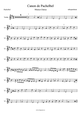 Canon de Pachelbel Partitura Muy Fácil para Violín Canon en Sol Mayor Partitura para Violin