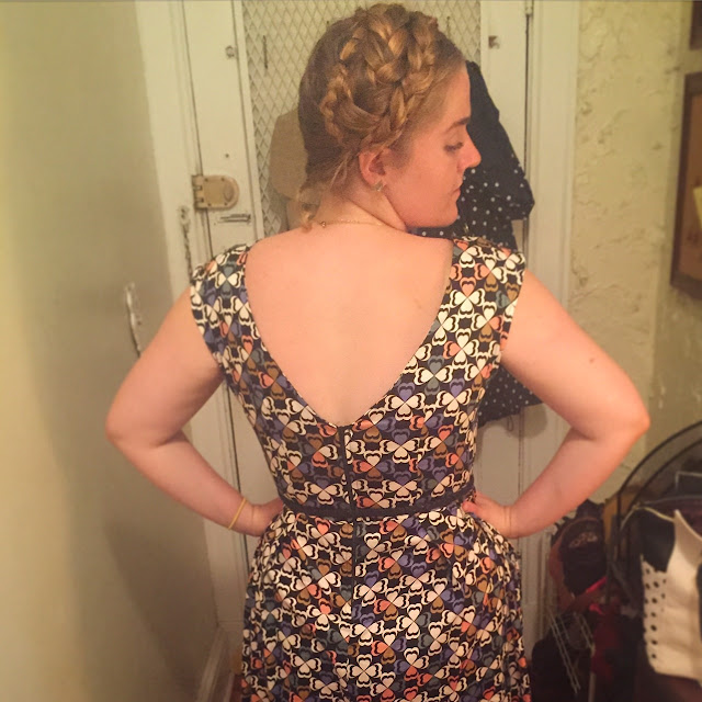 ModCloth fit and flare dress, exposed zipper, print, maiden braids