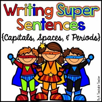 http://www.teacherspayteachers.com/Product/Writing-Super-Sentences-Mini-Unit-Capitals-Spaces-Periods-883298