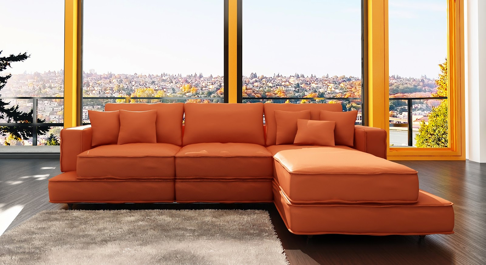 Orange sofa freshnist design for Good sofas for small living rooms