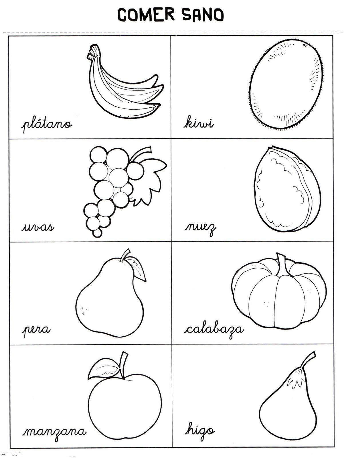 Fichas para primaria: Ficha de frutos de otoño