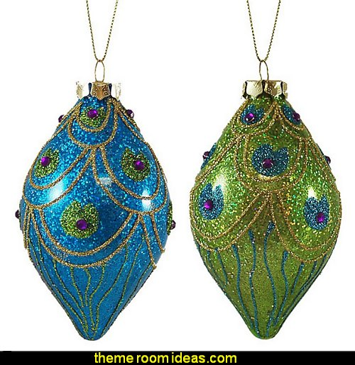 Glass Peacock Finial Christmas Hanging Ornaments