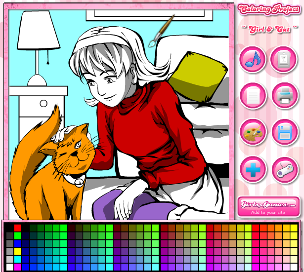 Coloring Games For Kids Girls And Cat