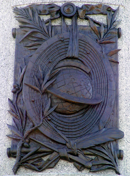 The geocentric scheme on the Plaque of The James Garfield Monument in Washington, D.C.