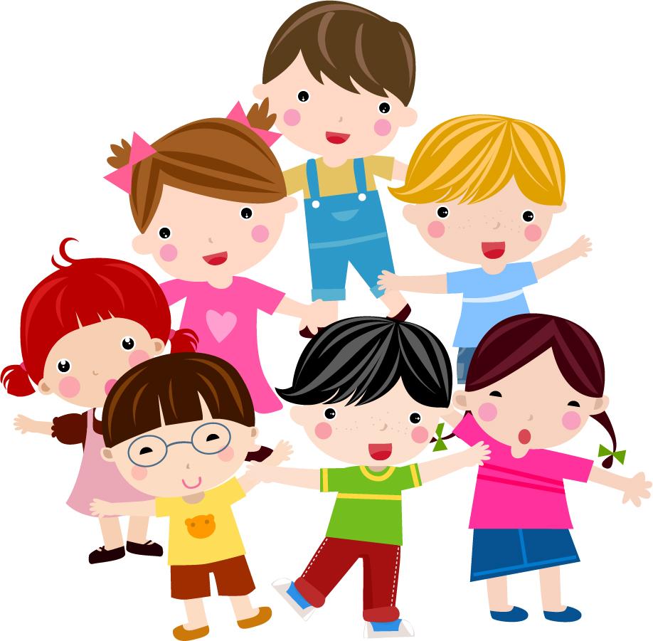 free vector がらくた素材庫: 元気な子供が集合したクリップアート