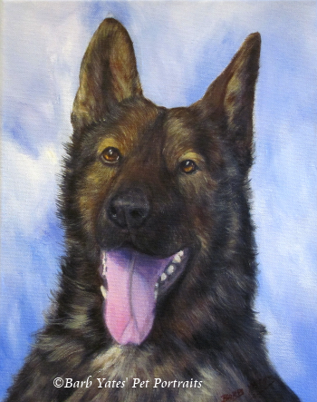 acrylic painting, Working Dog, pet portrait