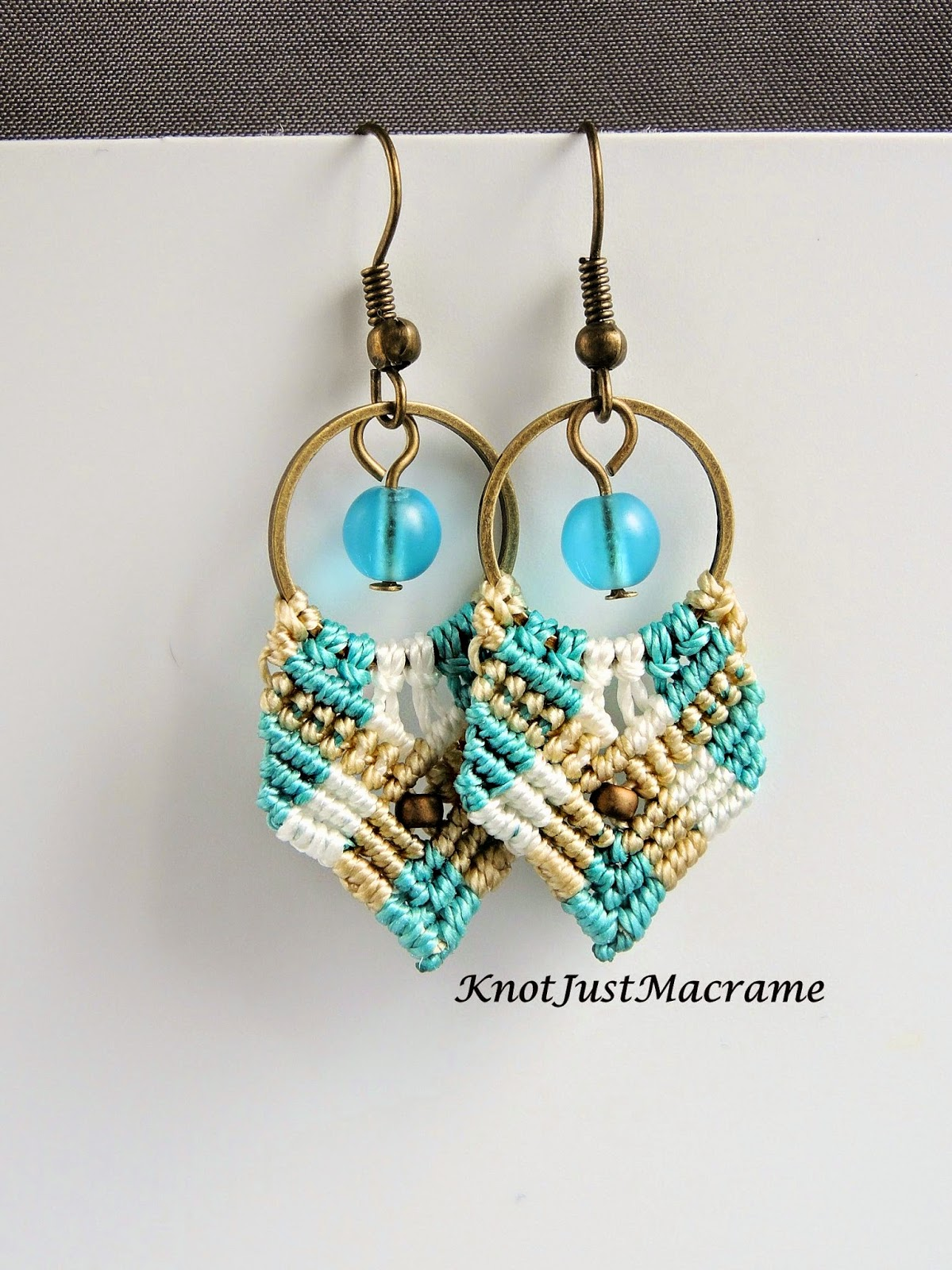 Short version of Gypsy micro macrame earrings with dangles