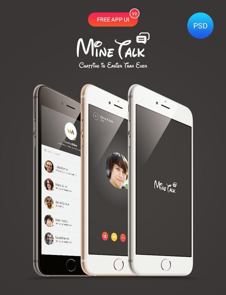 Mine Talk Mobile App UI PSD Template