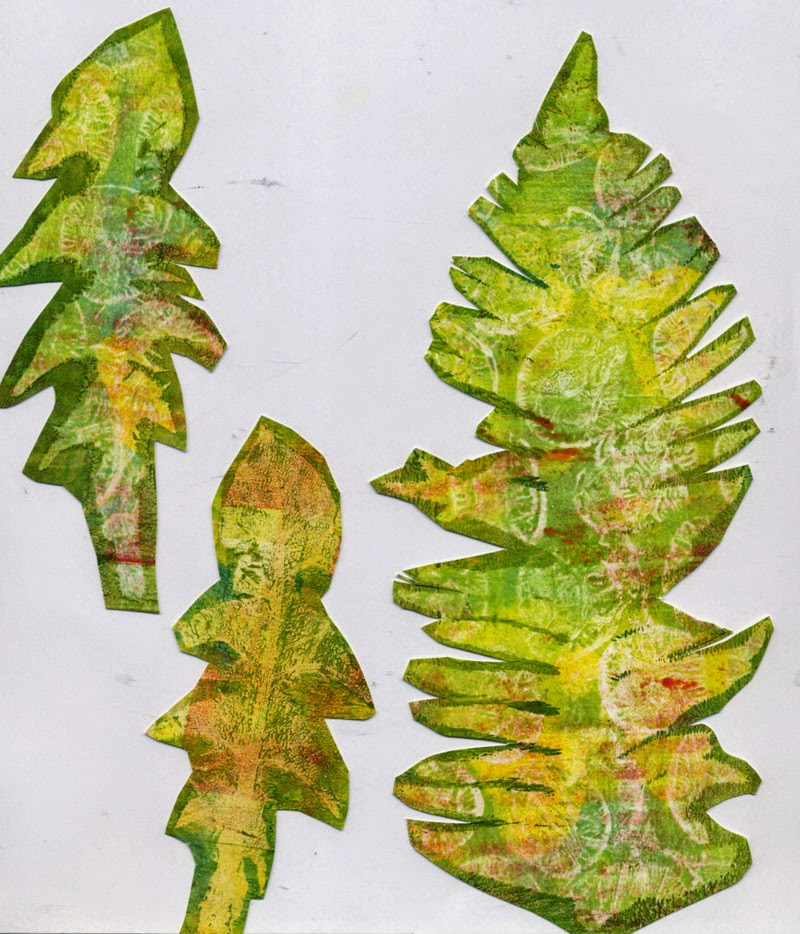 gelli print made with dried leaves