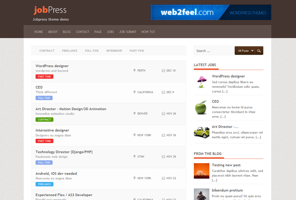 jobpress 16 Best 2012 Free WordPress Themes